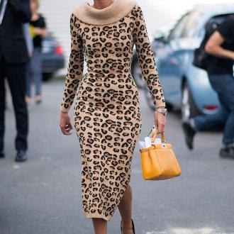 Платье с воротником с леопардовым принтом