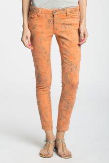 Оранжевые женские слаксы с принтом