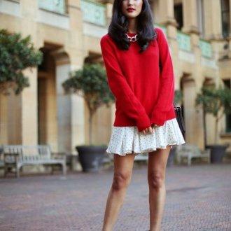 Как носить свитер с юбкой