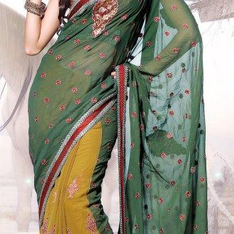 Желто-зеленое платье в индийском стиле