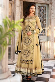 Бежево-черное индийское платье
