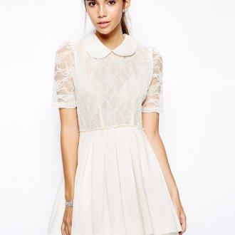 Повседневное белое платье в стиле винтаж