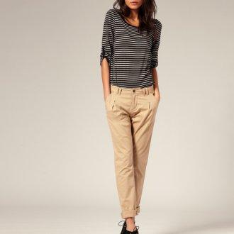 Кремовые женские брюки чинос
