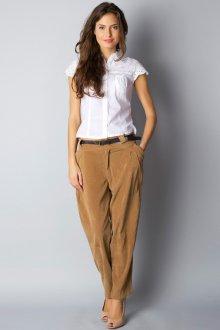 Бежевые бархатные женские брюки чинос