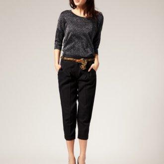 Черные укороченные женские брюки чинос