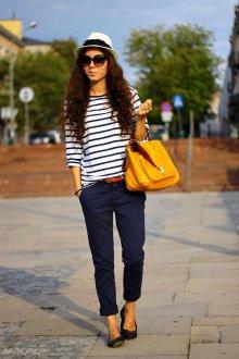 Синие женские брюки чинос