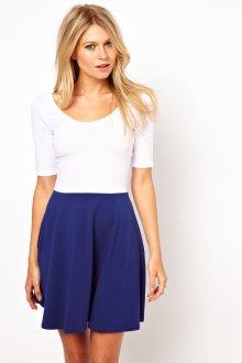 Бело-синее двухцветное платье