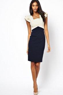 Черно-белое двухцветное платье с красивыми плечами