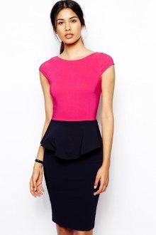 Черно-розовое двухцветное платье с баской