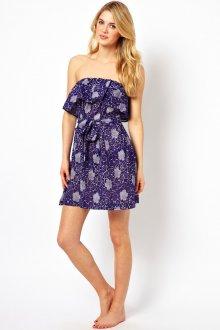 Сине-белое цветочное пляжное платье
