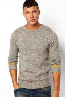 Серый мужской свитер с желтыми полосками
