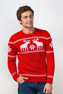 Красно-белый мужской свитер с оленями в норвежском стиле