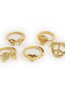 Золотистые фаланговые кольца с разным декором