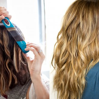 Пляжная прическа на волосы с помощью утюжка