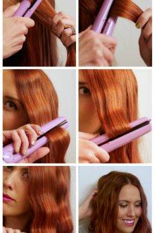 Небрежные локоны на средние волосы с помощью утюжка