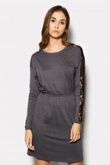 Серо-черное платье со вставками из гипюра