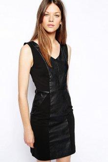 Стильное черное платье с кожаными вставками