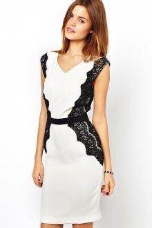 Черно-белое платье с ажурными вставками